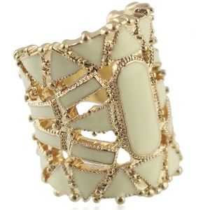 Jewelry - Geometric Gold Alloy and Cream Enamel Hollow Ring